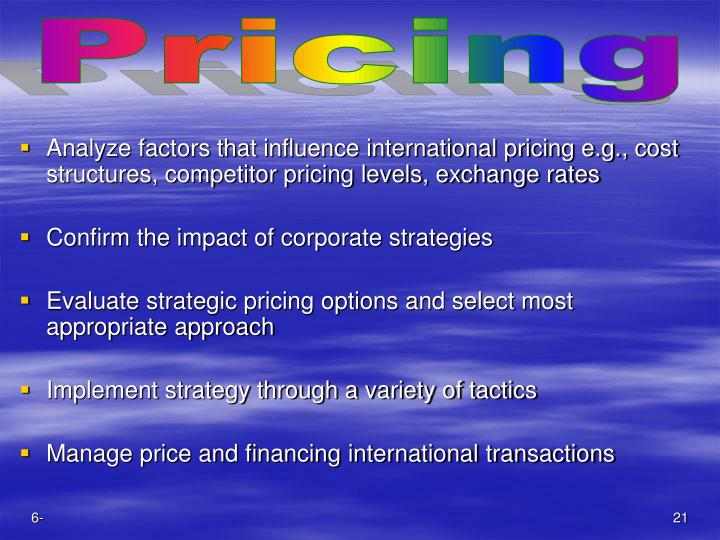 Analyze factors that influence international pricing e.g., cost structures, competitor pricing levels, exchange rates