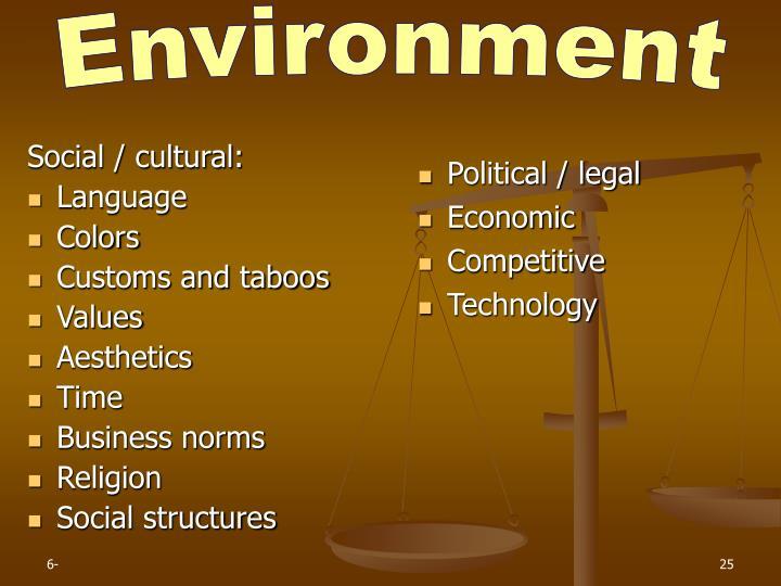 Social / cultural: