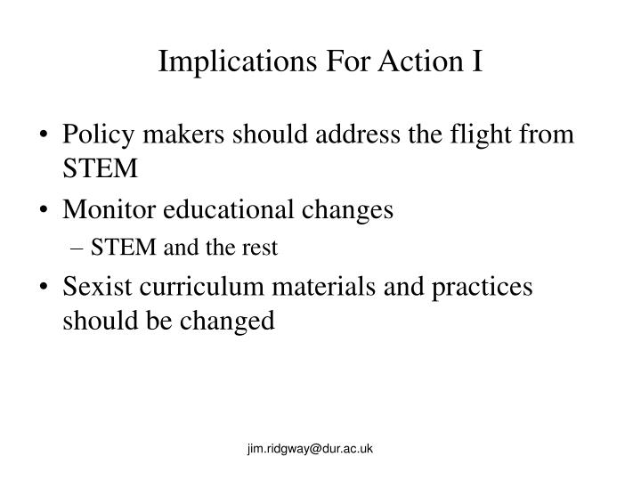 Implications For Action I