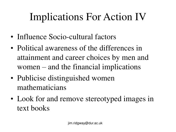 Implications For Action IV