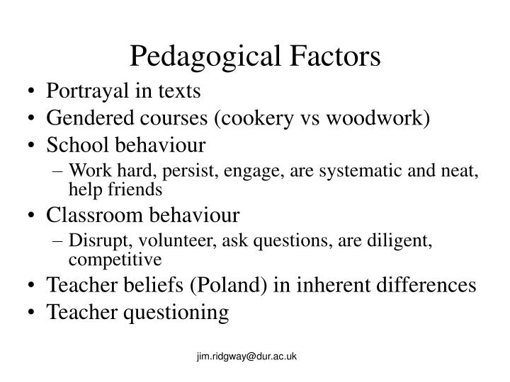 Pedagogical Factors