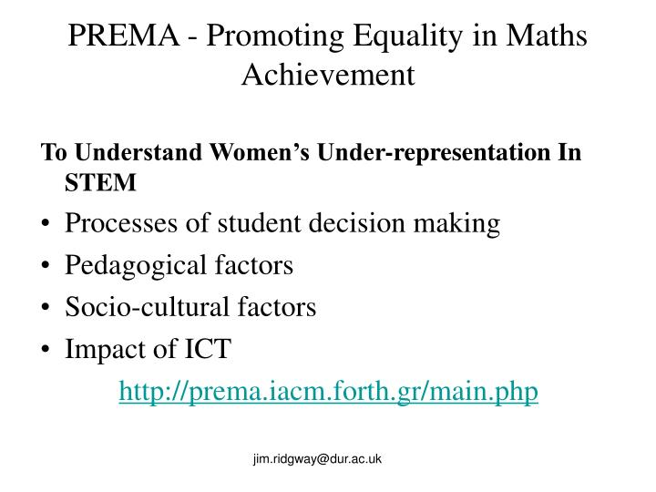 Prema promoting equality in maths achievement