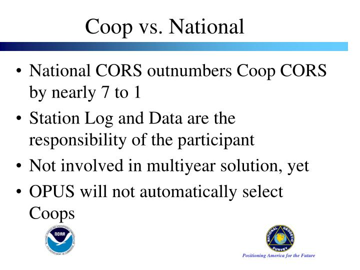 National CORS outnumbers Coop CORS by nearly 7 to 1