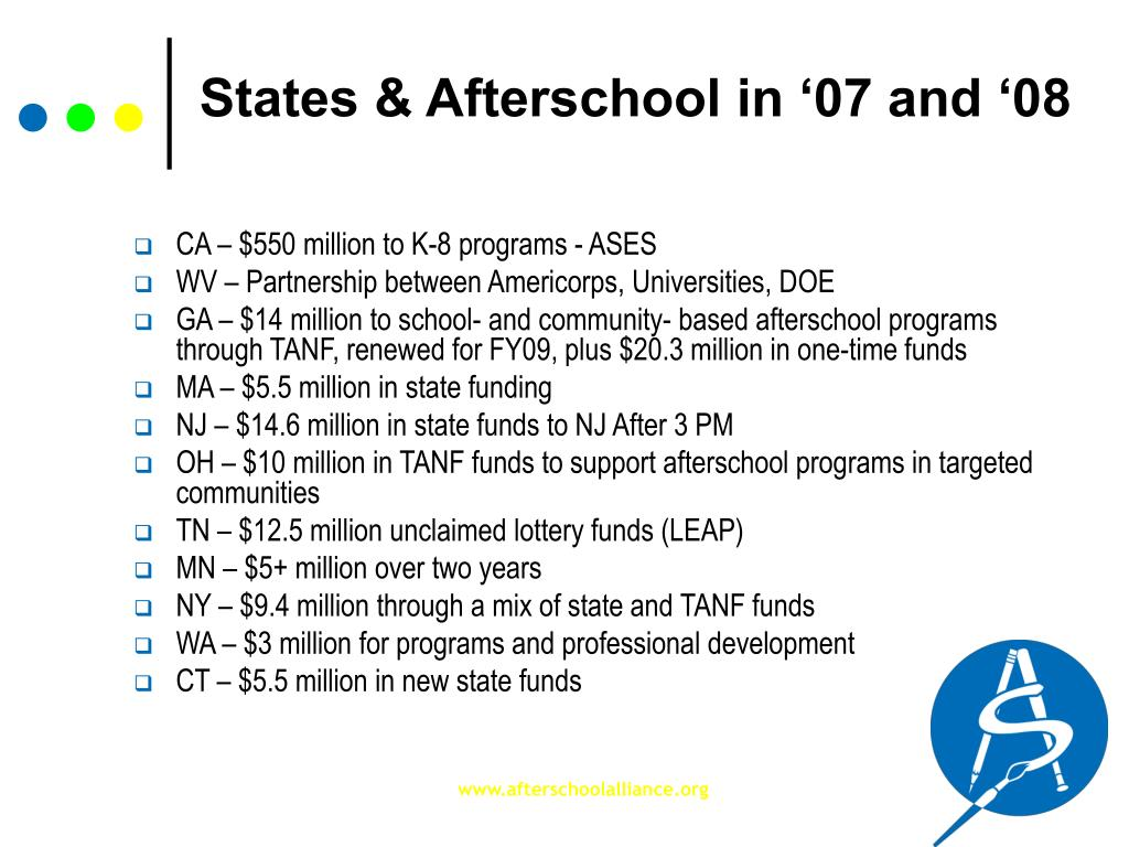 States & Afterschool in '07 and '08