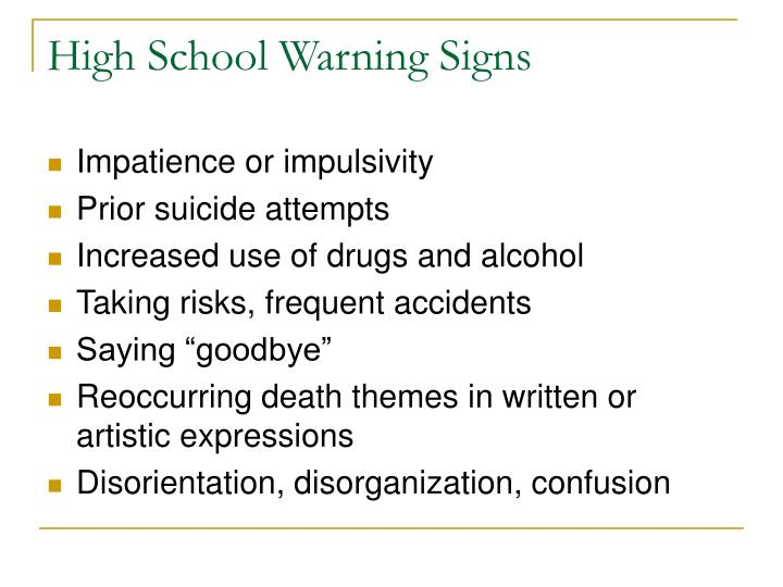 High School Warning Signs