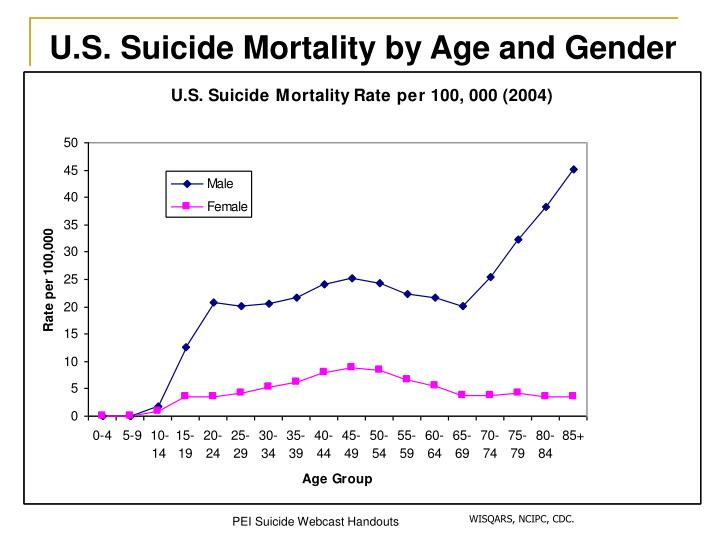 U.S. Suicide Mortality by Age and Gender