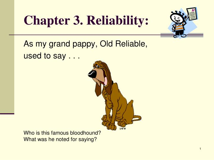 Chapter 3 reliability