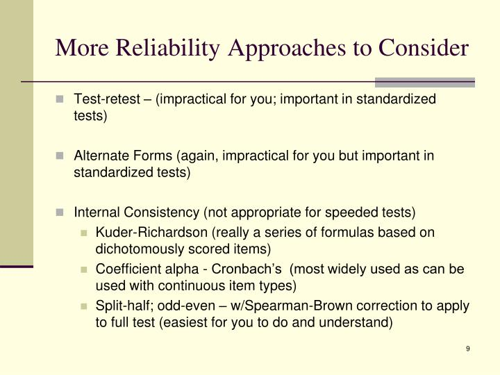 More Reliability Approaches to Consider