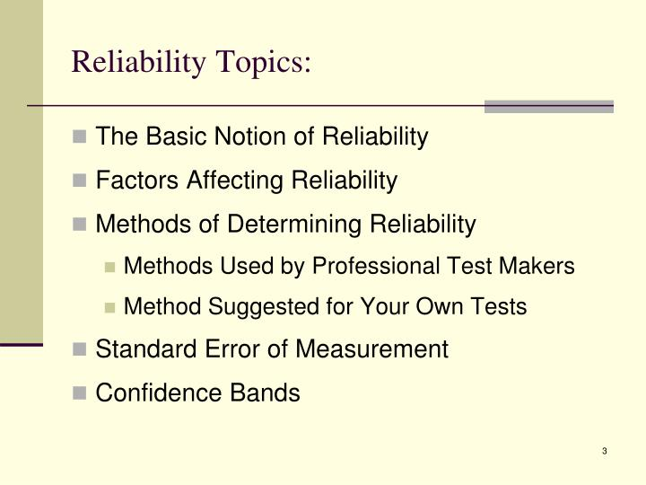 Reliability Topics: