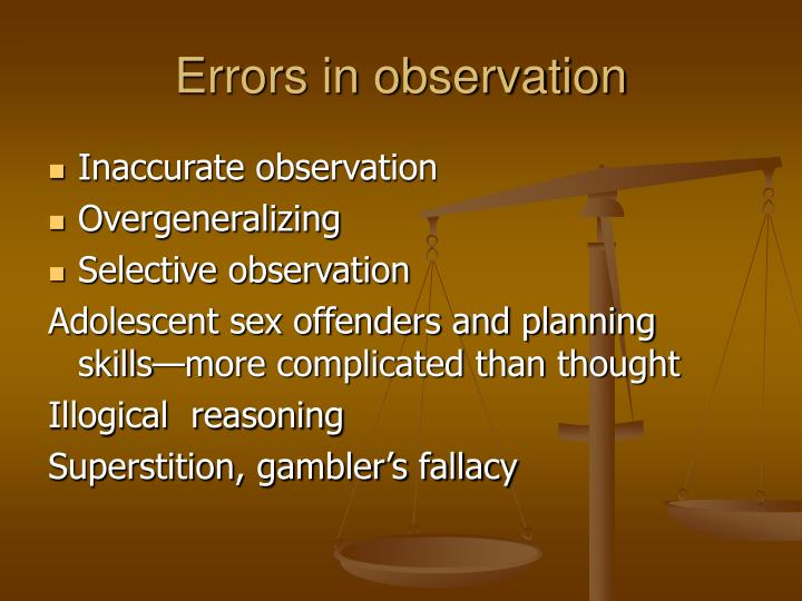 Errors in observation