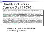 remedy exclusions common draft 803 01