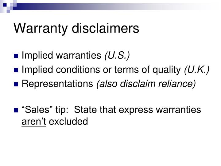 Warranty disclaimers