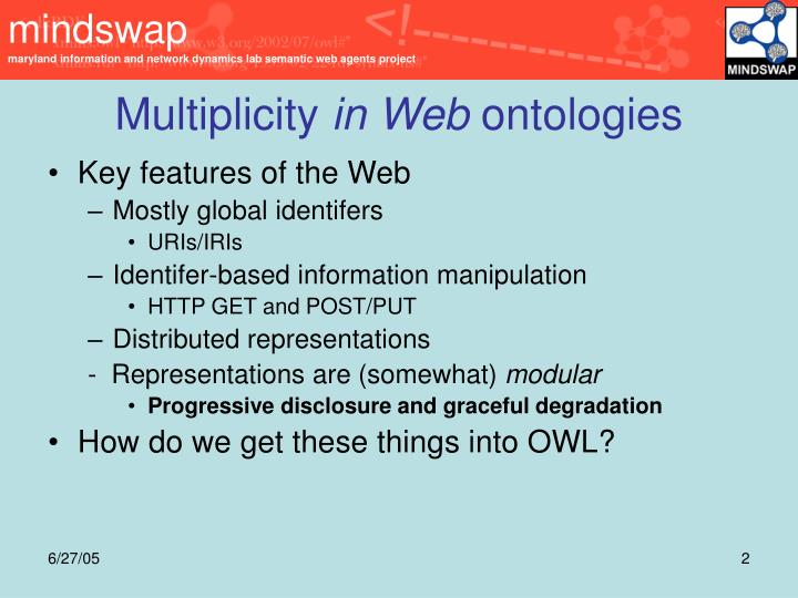 Multiplicity in web ontologies