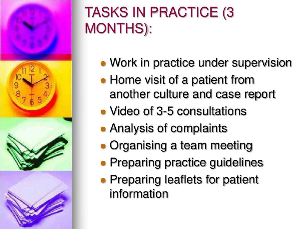 TASKS IN PRACTICE (3 MONTHS):