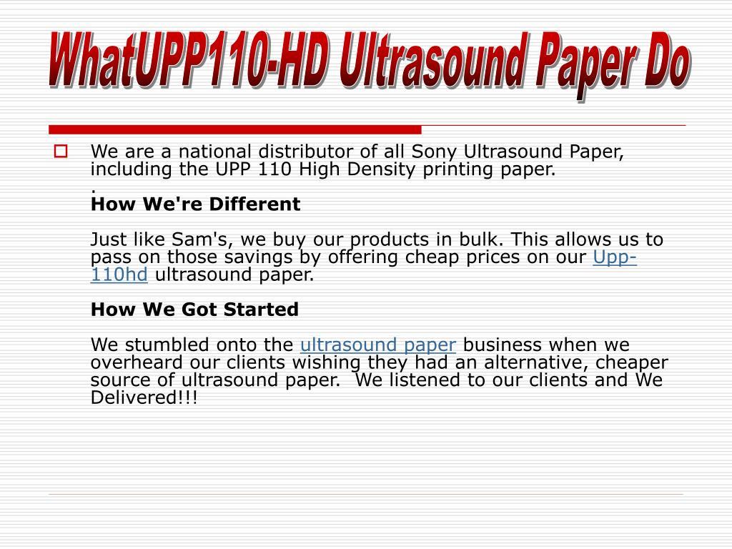 WhatUPP110-HD Ultrasound Paper Do