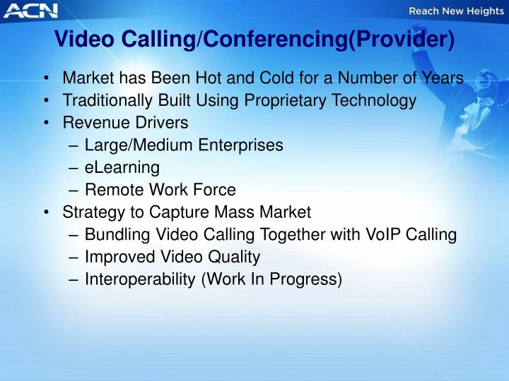 Video Calling/Conferencing(Provider)