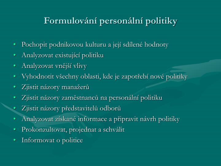 Formulování personální politiky