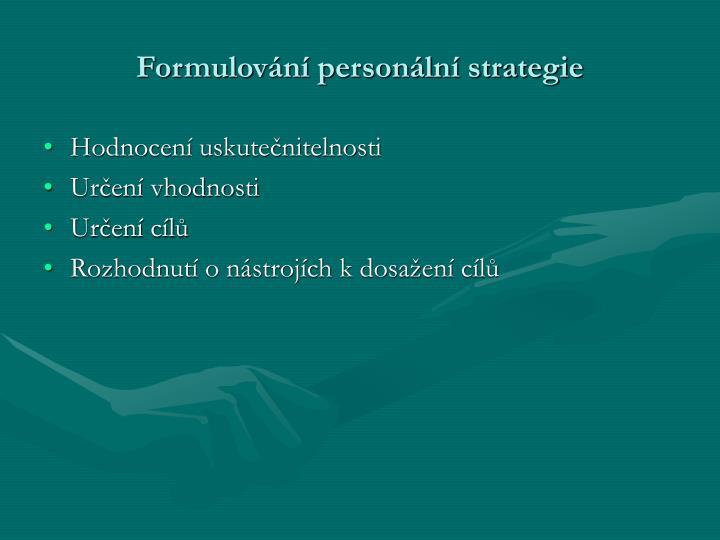 Formulování personální strategie