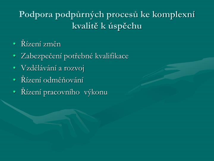 Podpora podpůrných procesů ke komplexní kvalitě k úspěchu