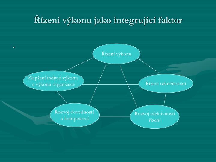 Řízení výkonu jako integrující faktor