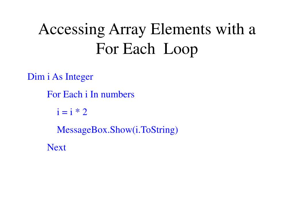 Accessing Array Elements with a For Each  Loop