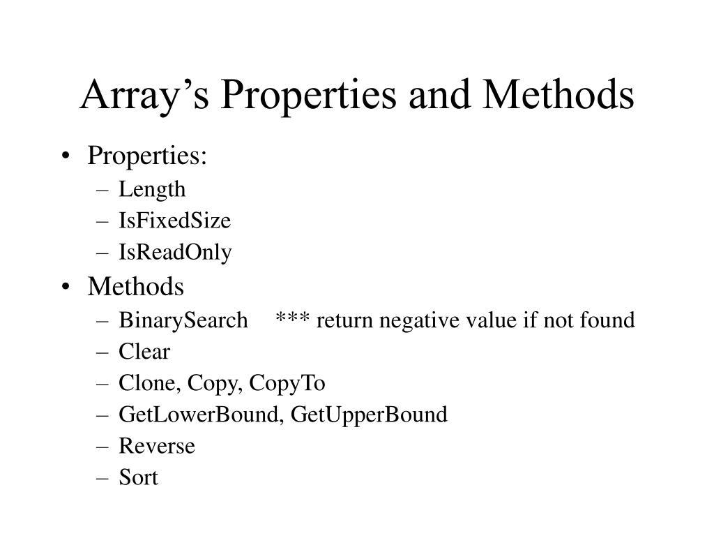 Array's Properties and Methods