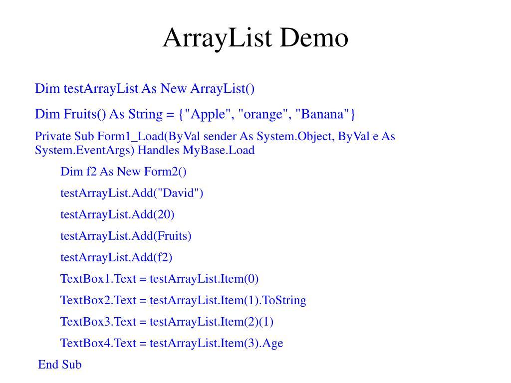 ArrayList Demo