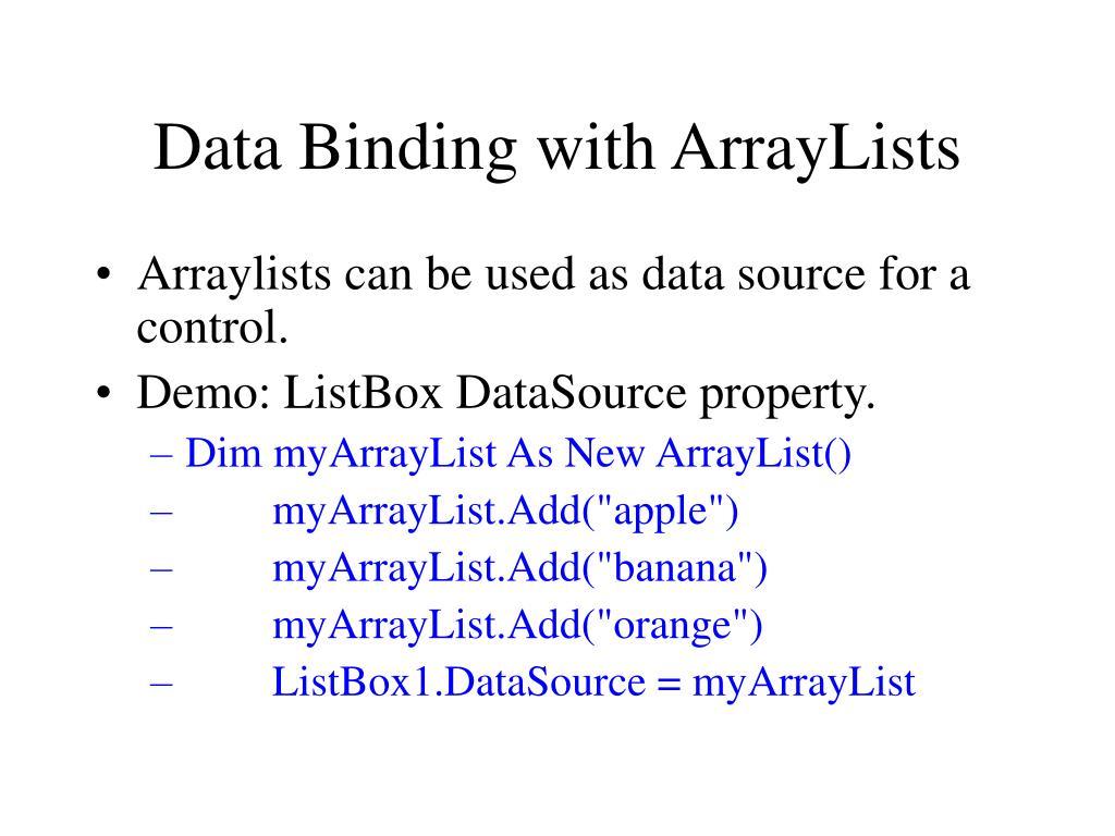 Data Binding with ArrayLists