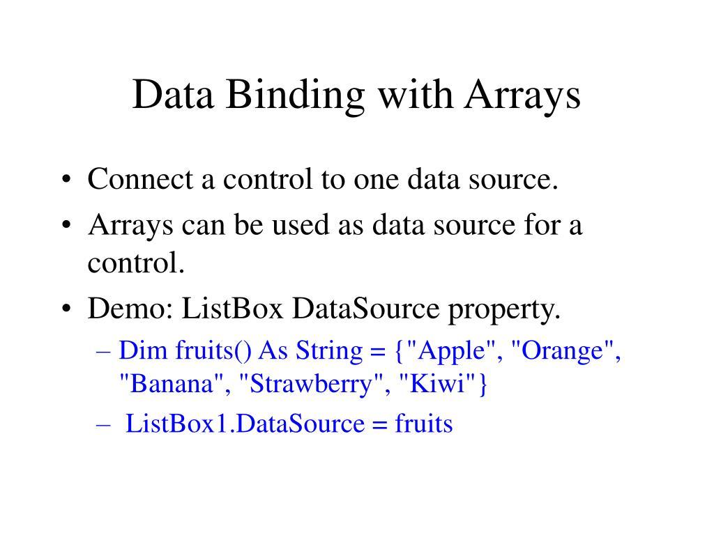 Data Binding with Arrays