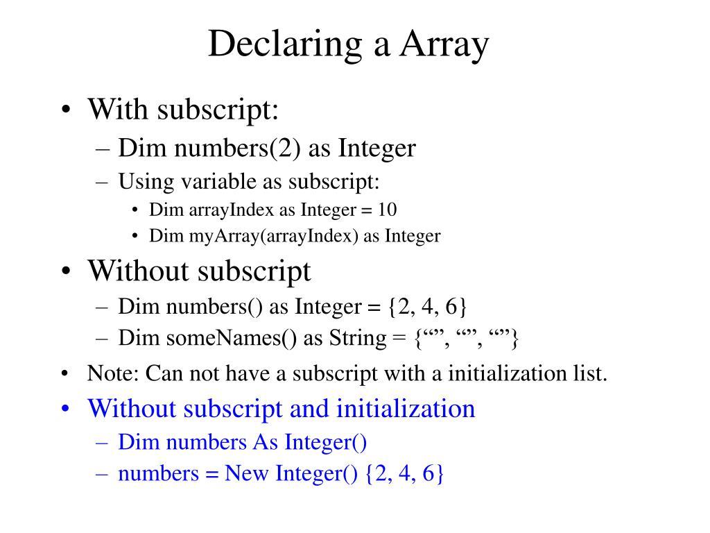 Declaring a Array