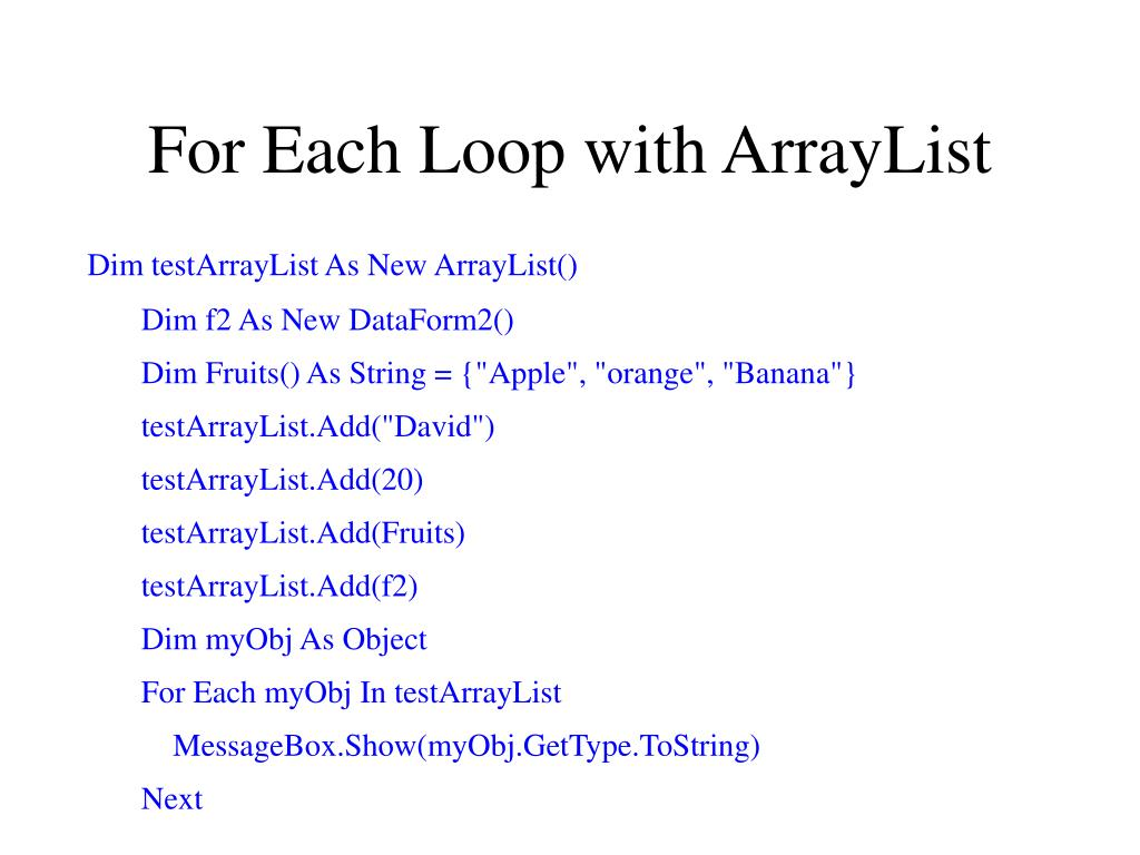 For Each Loop with ArrayList