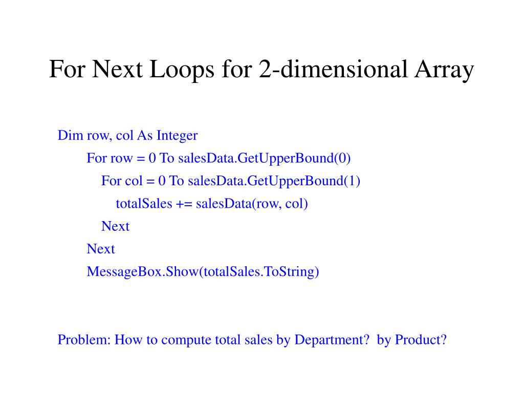 For Next Loops for 2-dimensional Array