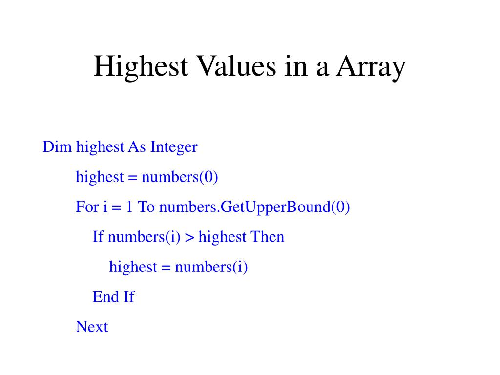 Highest Values in a Array