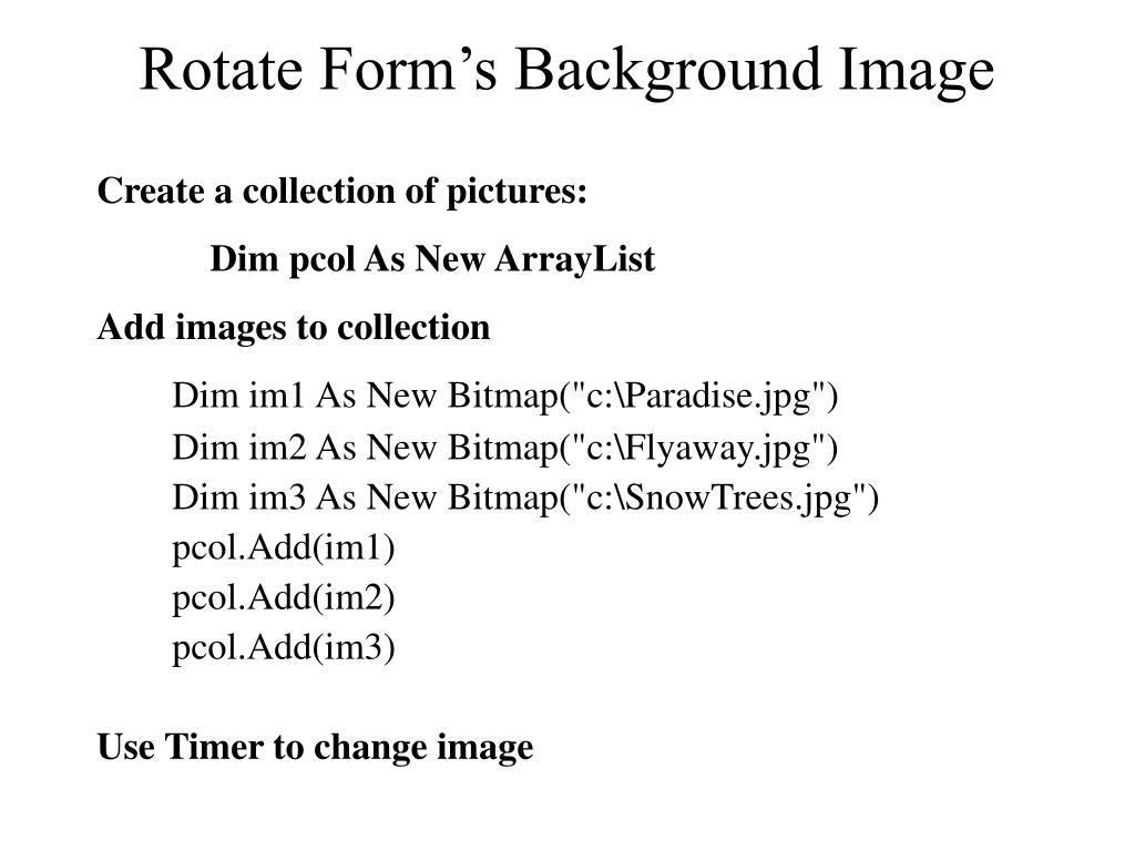 Rotate Form's Background Image