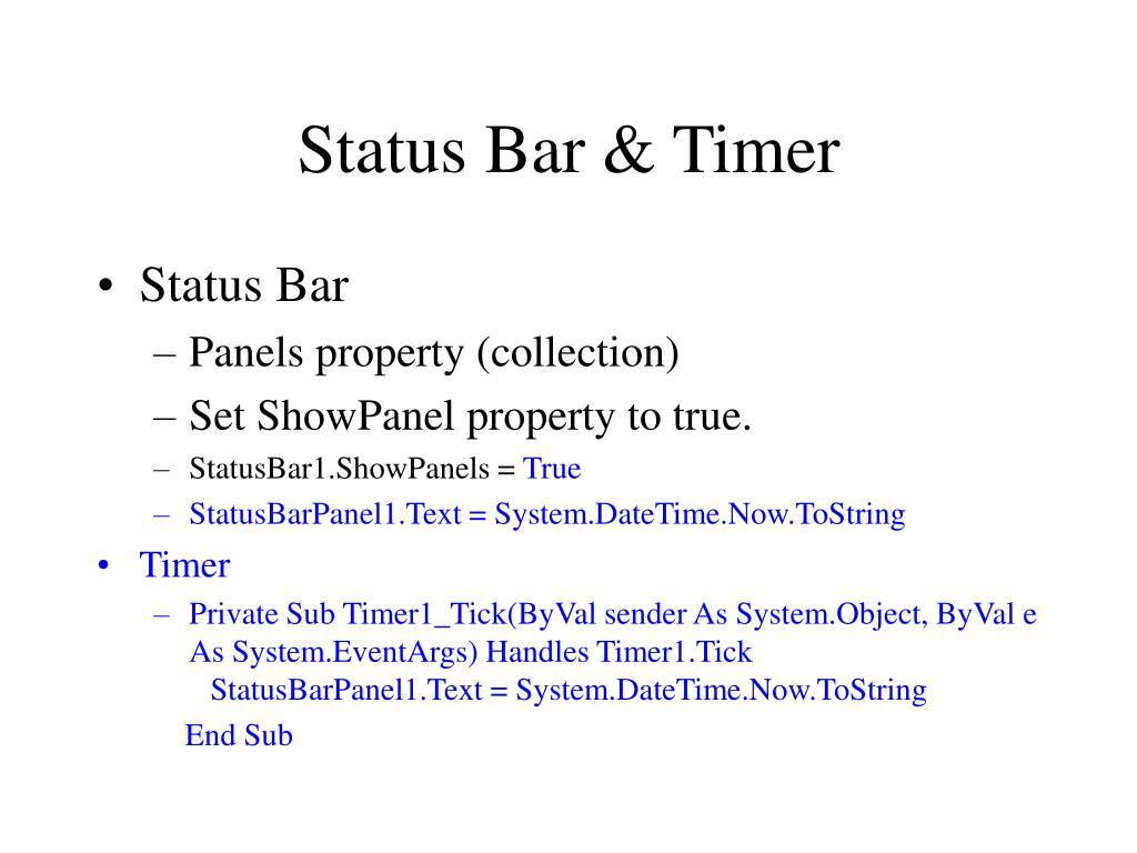 Status Bar & Timer