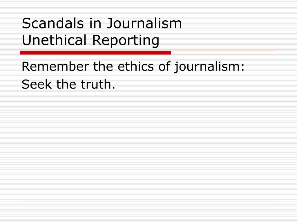 Scandals in Journalism