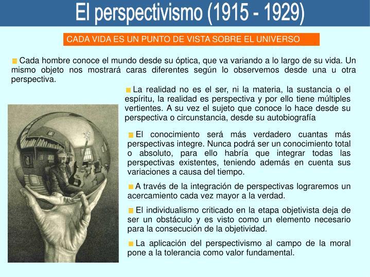 El perspectivismo (1915 - 1929)