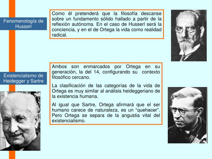 Como él pretenderá que la filosofía descanse sobre un fundamento sólido hallado a partir de la reflexión autónoma. En el caso de Husserl será la conciencia, y en el de Ortega la vida como realidad radical.