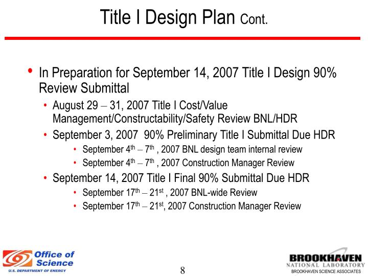 Title I Design Plan