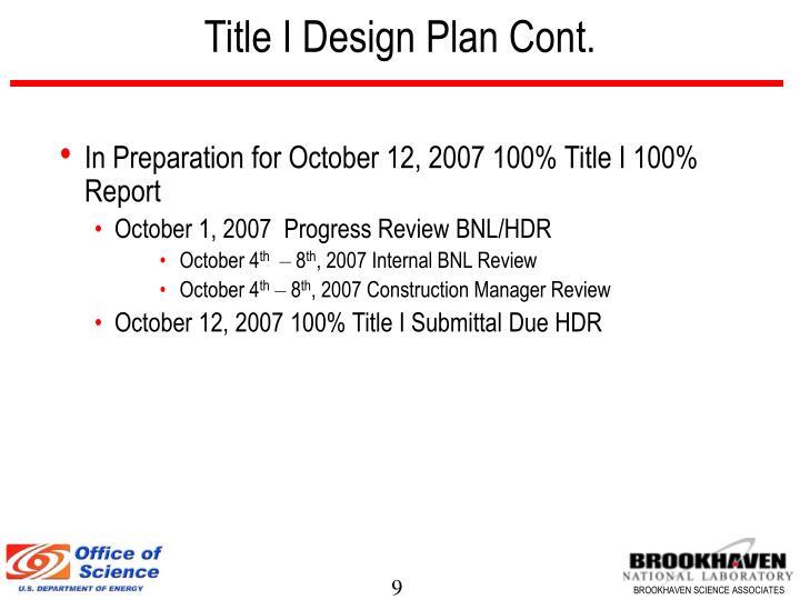Title I Design Plan Cont.