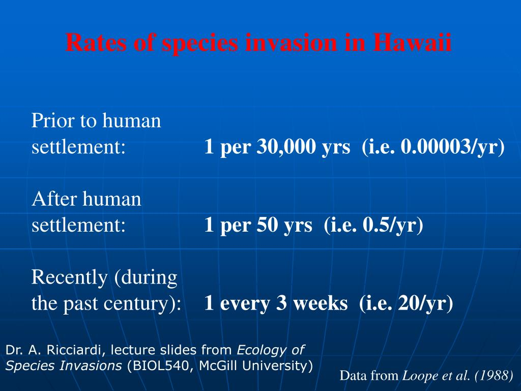 Rates of species invasion in Hawaii