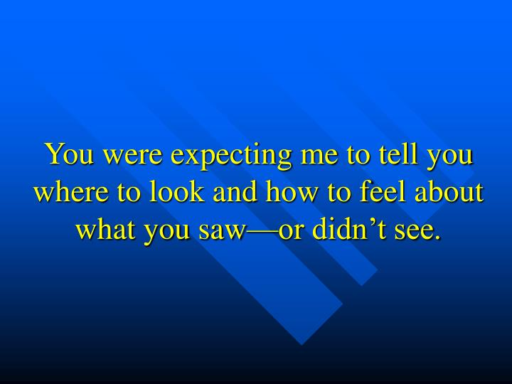 You were expecting me to tell you where to look and how to feel about what you saw—or didn't see.