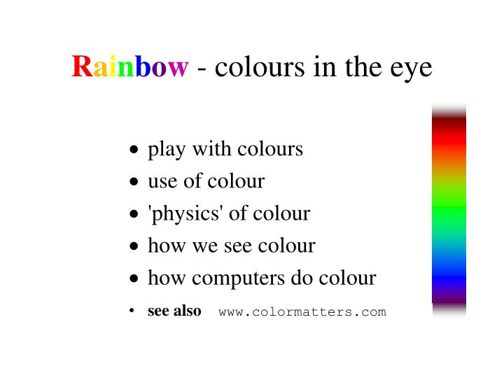 R a i n b o w colours in the eye