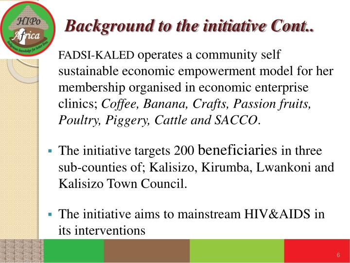 Background to the initiative Cont..