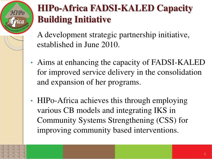 HIPo-Africa FADSI-KALED Capacity Building Initiative