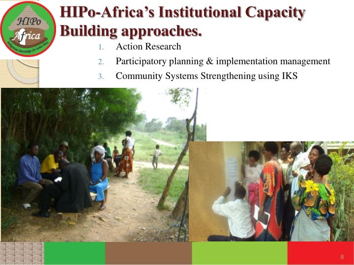 HIPo-Africa's Institutional Capacity Building approaches.