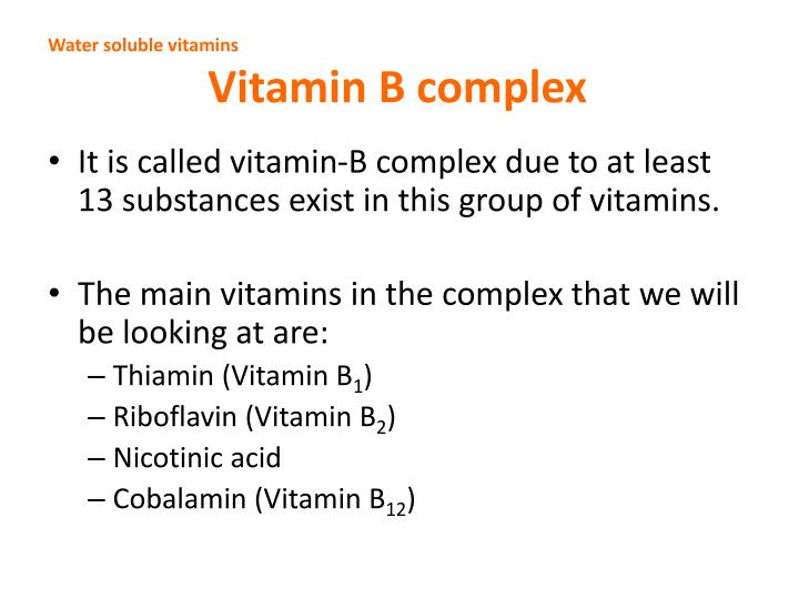 Water soluble vitamins