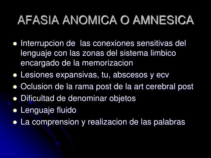 AFASIA ANOMICA O AMNESICA