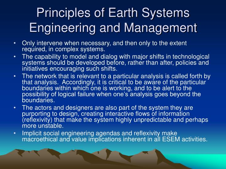 Principles of Earth Systems Engineering and Management