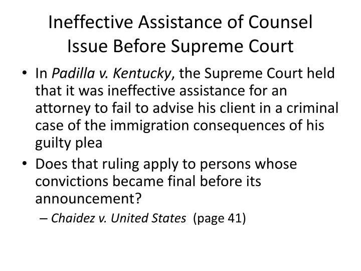 Ineffective Assistance of Counsel